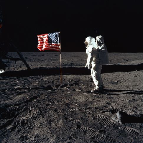 walking on the moon astronaut apollo 11 stock photo