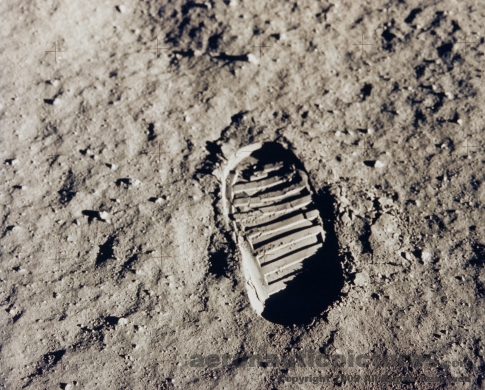 footprint on moon apollo 11 stock photo