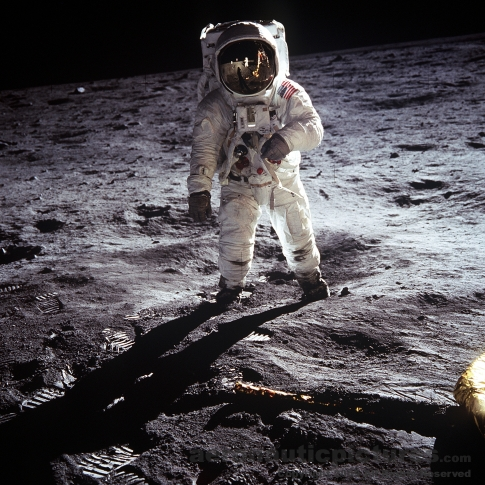 apollo 11 astronaut walking on moon stock photo